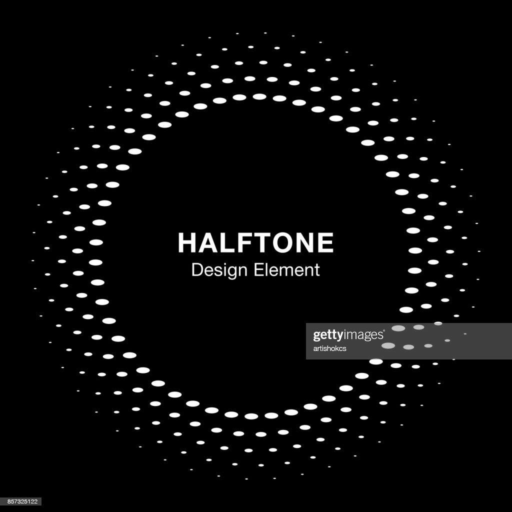 Weiße Halbton Vektor Kreis Rahmen Oval Punkte Logo Emblem Auf ...