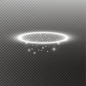 White halo angel ring. Isolated on black transparent background, vector illustration