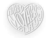 White Happy Mothers Day Heart