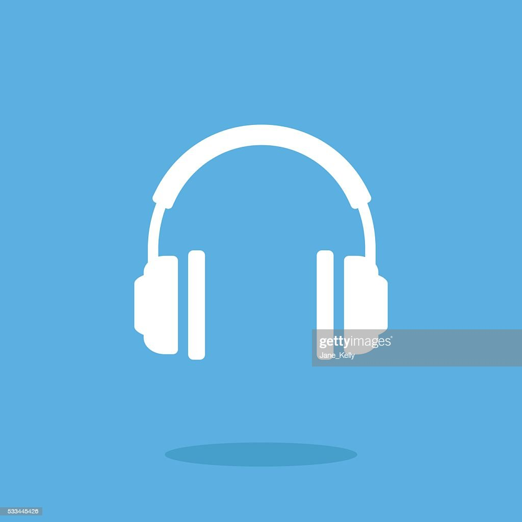 White headphones icon. Vector illustration