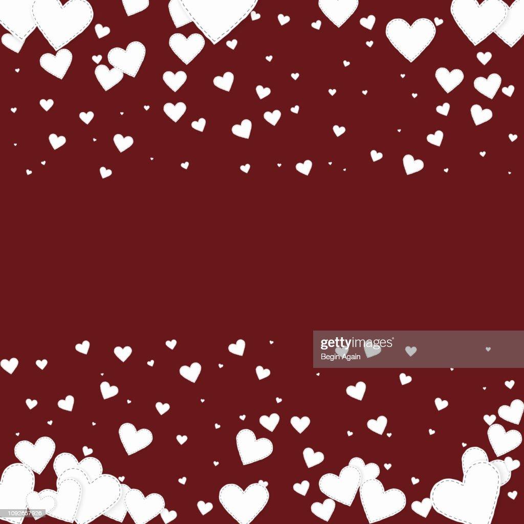 White heart love confettis. Valentine's day border