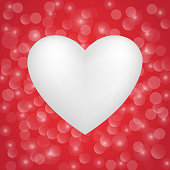 White heart on redbackground. Vector.