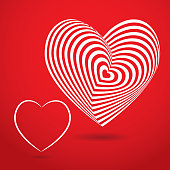 white heart red background. Optical illusion of 3D three-dimensional volume.
