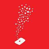 white hearts flying out from love letter red background
