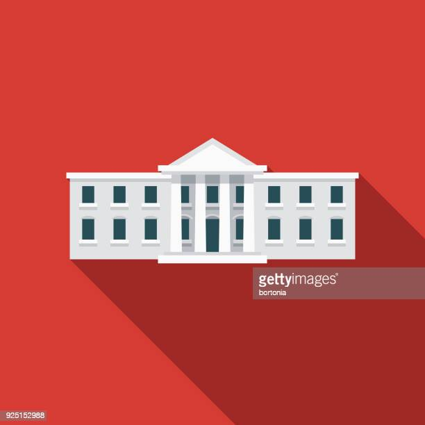 white house flat design usa icon with side shadow - president stock illustrations, clip art, cartoons, & icons