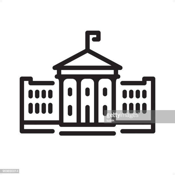 ホワイト ハウス - アイコン - ピクセル単位の概要 - 首都点のイラスト素材/クリップアート素材/マンガ素材/アイコン素材