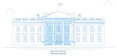 White House, Washington, stylized, freehand design. Usa
