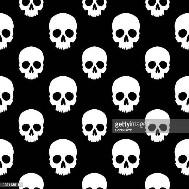white human skulls seamless pattern - human skull stock illustrations