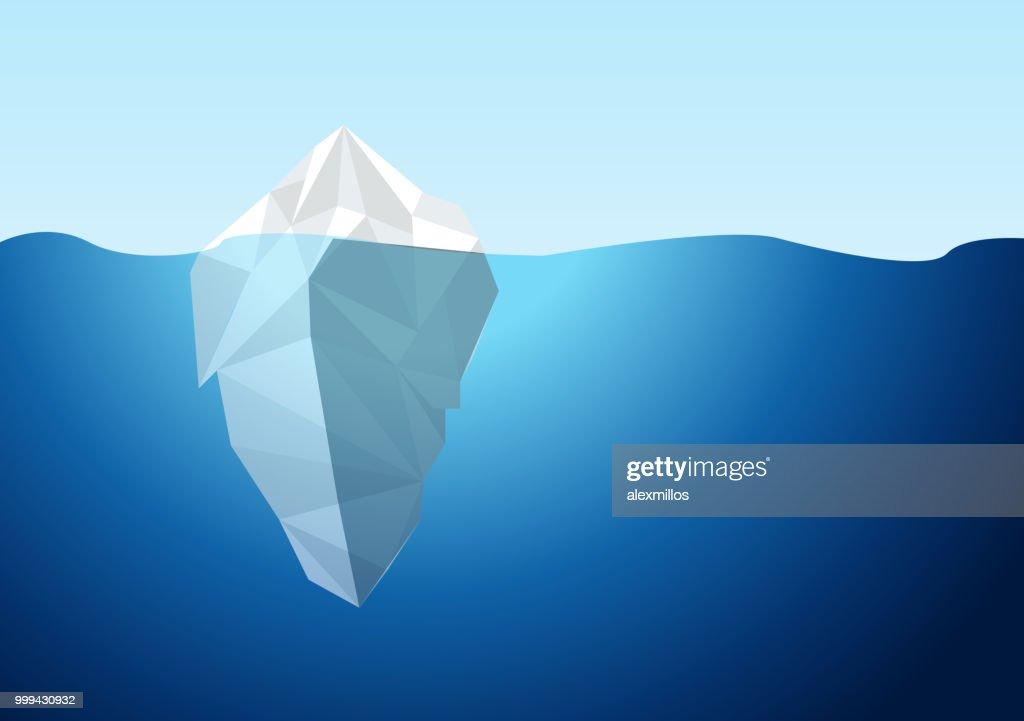 White Iceberg on Blue Atlantic Background Vector.