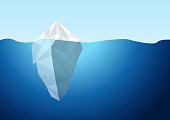 White Iceberg on Blue Atlantic Background Vector.
