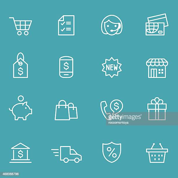 White icons for commerce on a teal background
