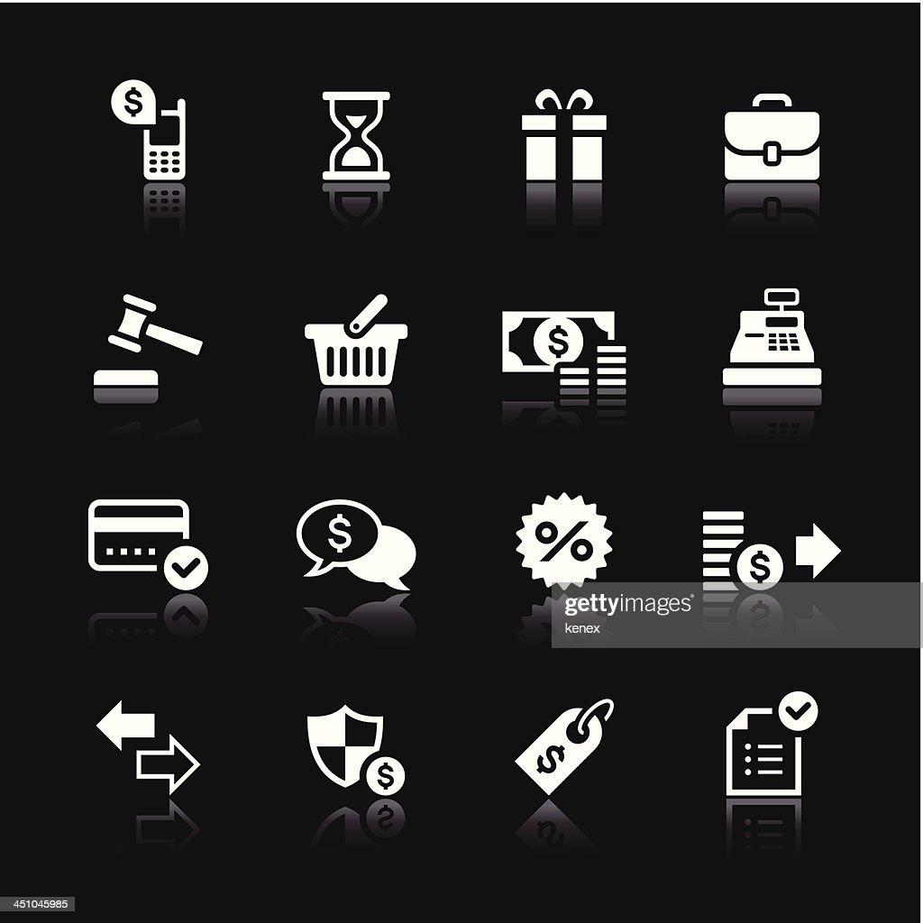 White Icons Set   Banking & Finance : stock illustration