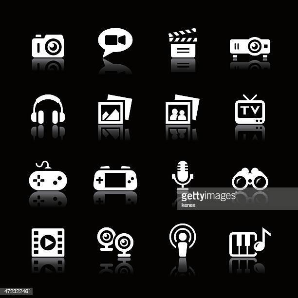 white icons set | multimedia - podcasting stock illustrations, clip art, cartoons, & icons