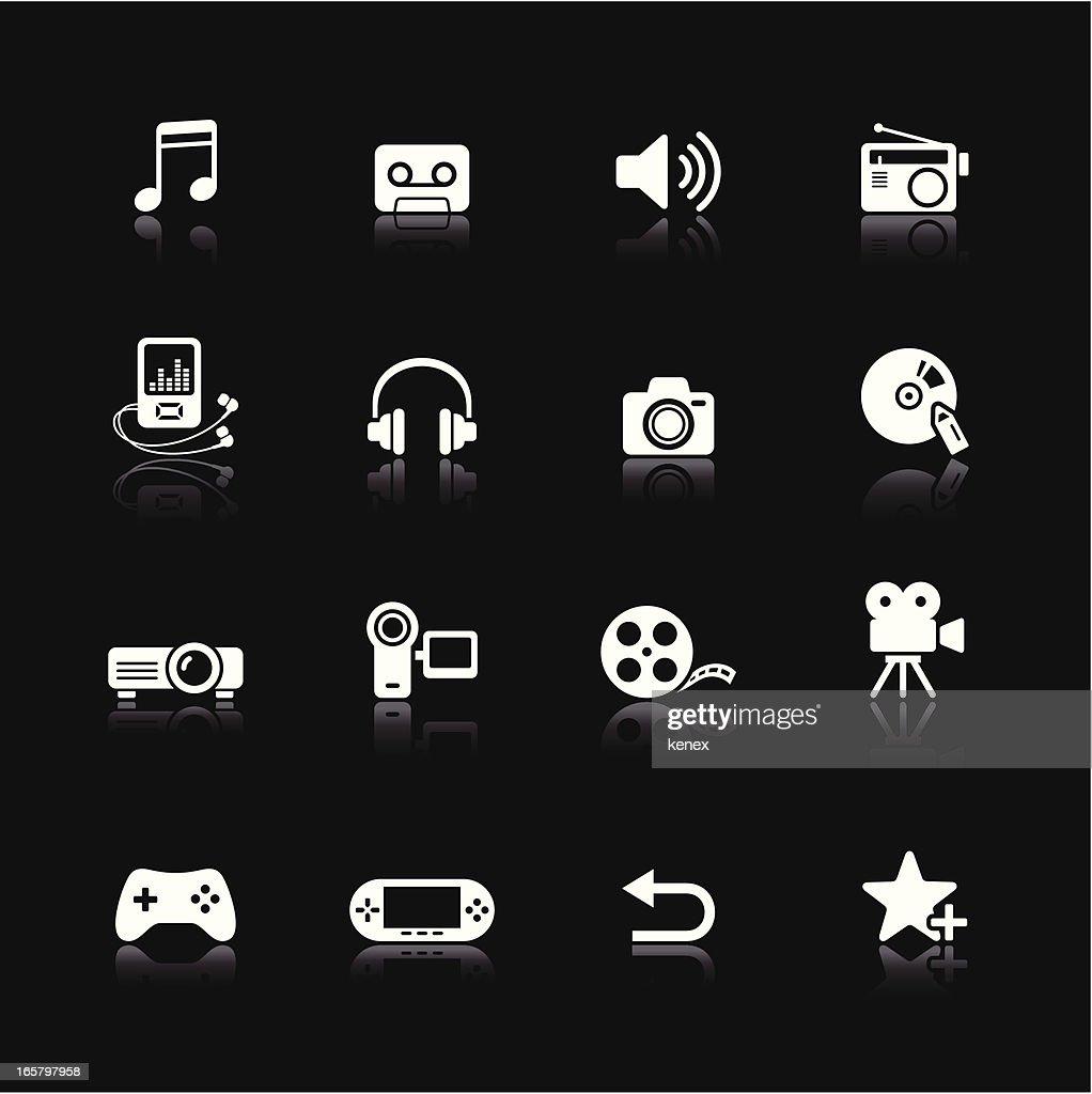 White icons set with multimedia