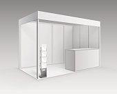 White Indoor Trade exhibition Booth Stand with Booklet Brochure Holder