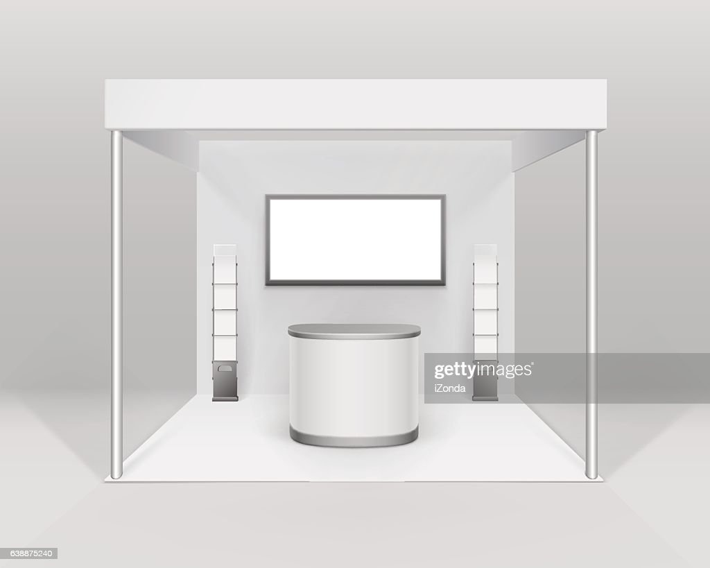 White Indoor Trade exhibition Booth Stand with Counter Screen Booklet