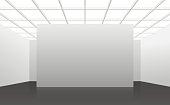 White interior of not existing building with black floor and square cellular ceiling.