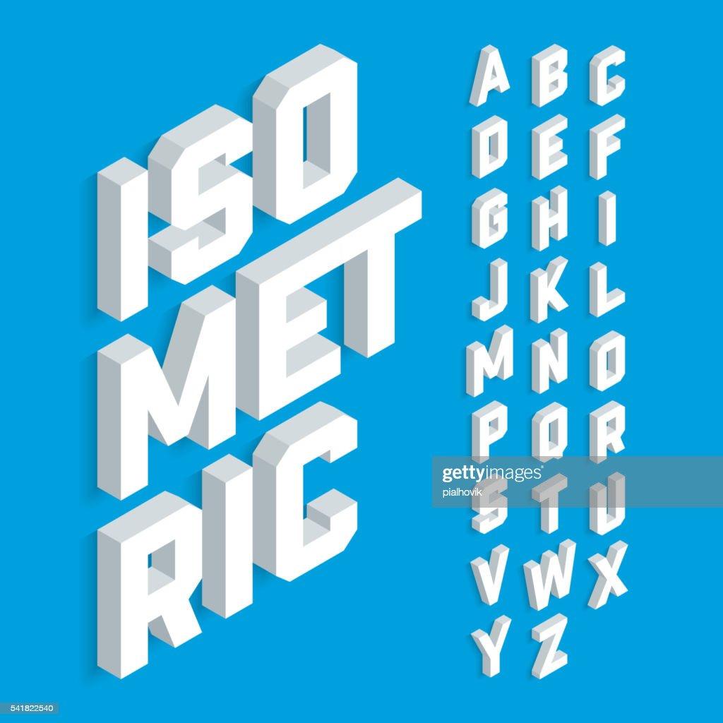 White isometric 3d font