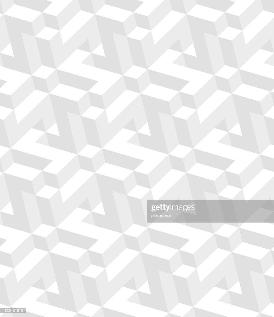 White Isometric seamless pattern. 3D optical illusion background.