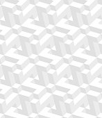 White Isometric seamless pattern. 3D optical illusion background.