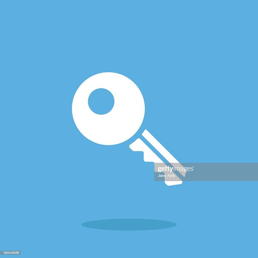 White key icon. Vector key pictogram. Vector illustration