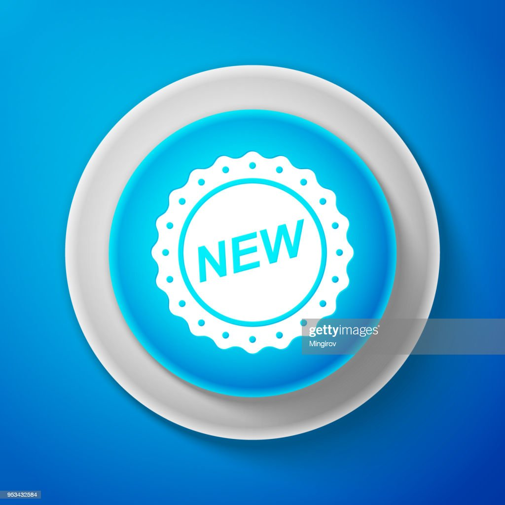 White Label New sign isolated on blue background. Circle blue button with white line. Vector Illustration
