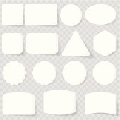 A white label set on a checkered background