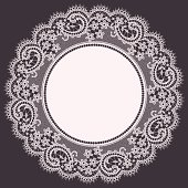 White Lace Doily. Floral Pattern. Gray Background.