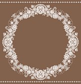 White Lace Frame. Floral Pattern.