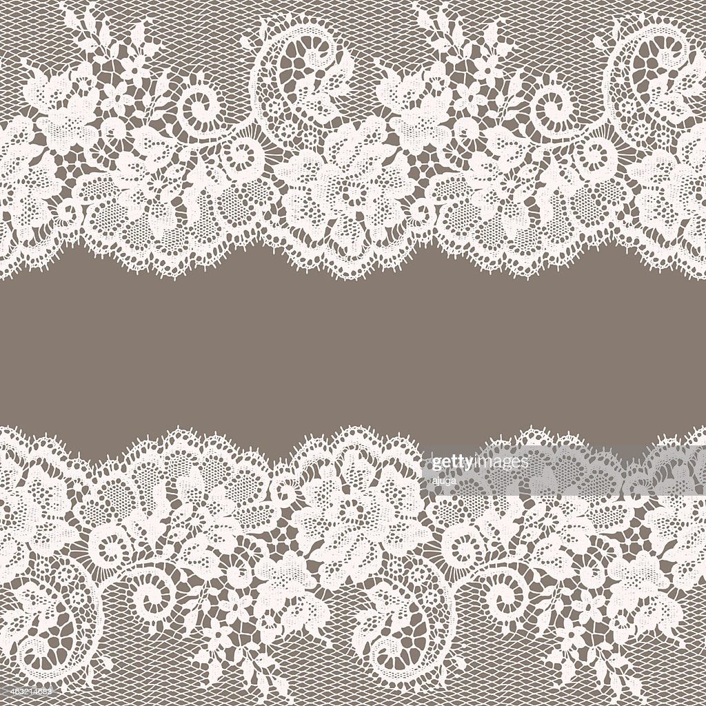 White Lace. Greeting Card. Gray Background. : stock illustration