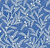 White Lace Seamless Pattern. Floral Pattern Blue Background.