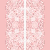 White lace seamless pattern of broad vertical floral tape.