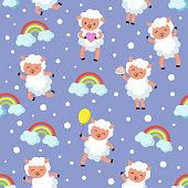 White lamb, small sheep baby. Sweet dream vector seamless pattern