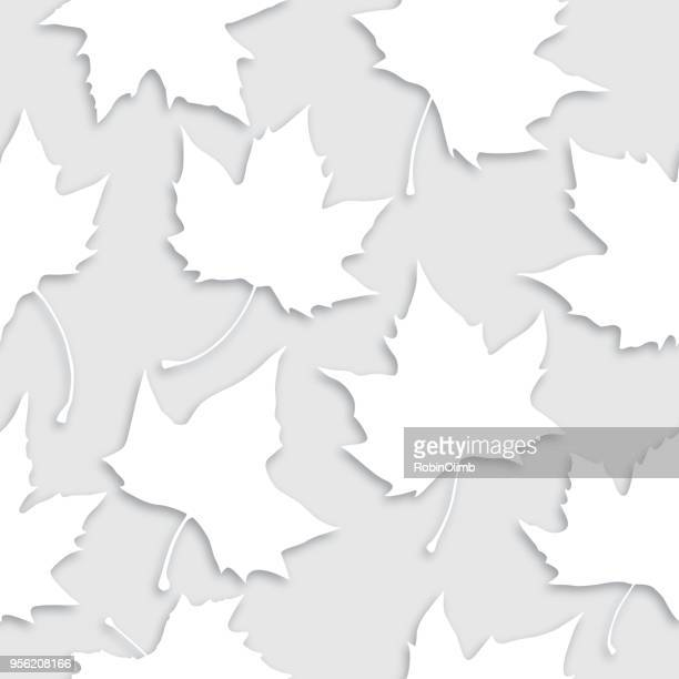 white leaves seamless pattern - deciduous tree stock illustrations, clip art, cartoons, & icons