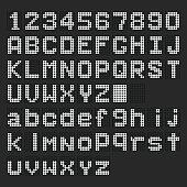 White LED digital english uppercase, lowercase font, number display on black background