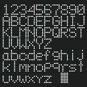 White led uppercase and lowercase English alphabet, number