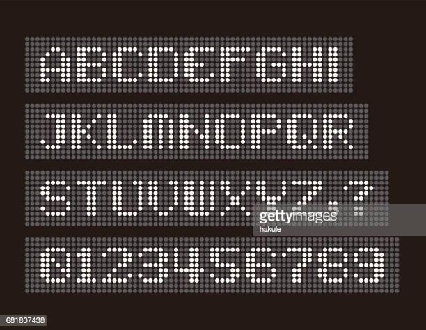White led uppercase English alphabet, number  vector illustration