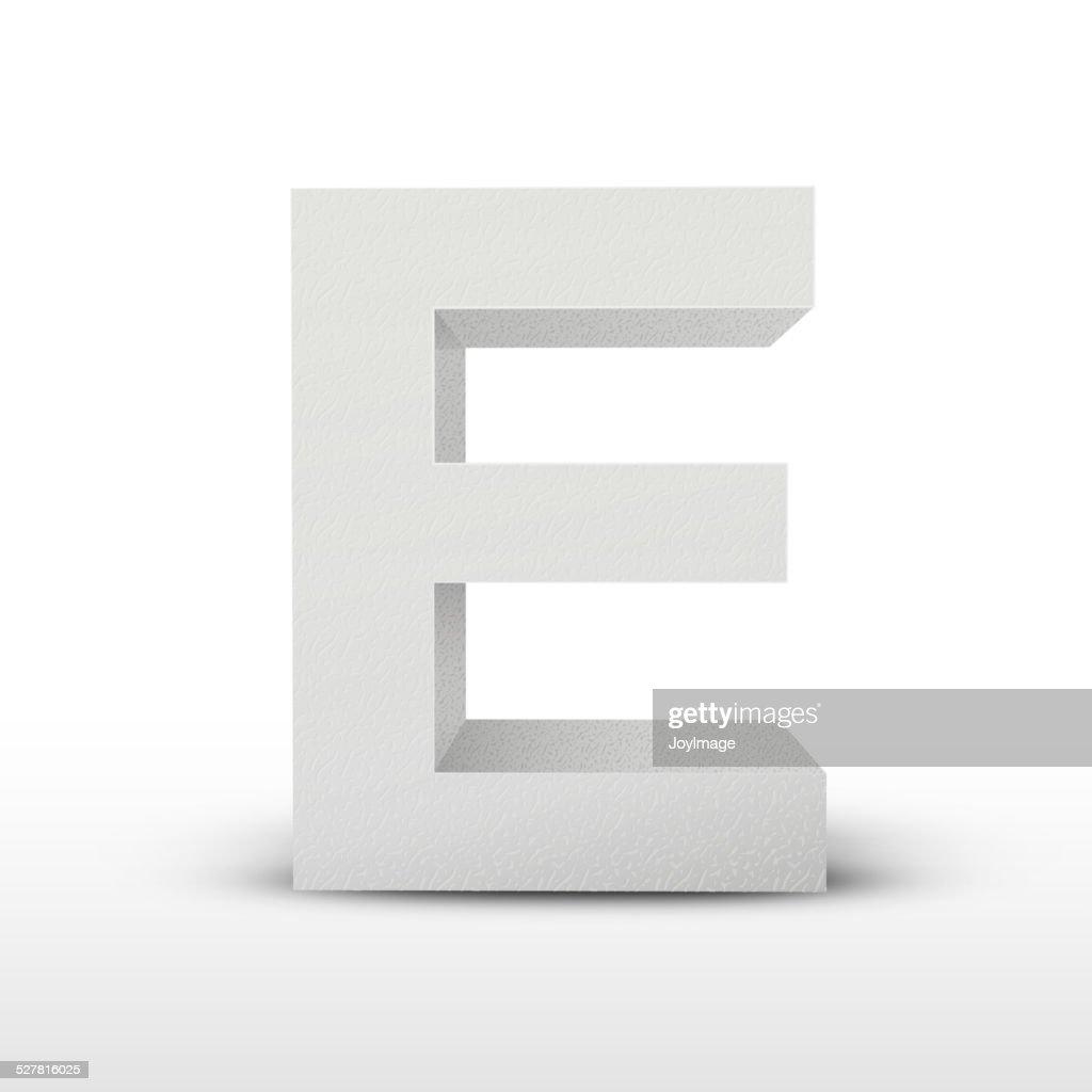white letter E isolated on white