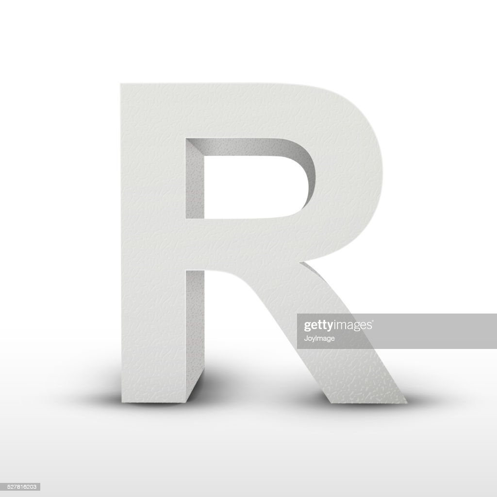 white letter R isolated on white
