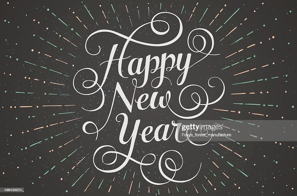 White lettering Happy New Year for greeting card on chalk