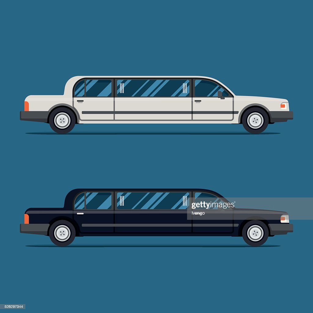 White limo and black limousine. Flat vector illustration.