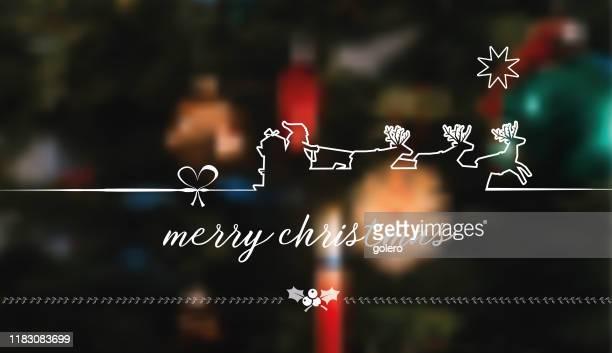 white line art santa claus illustration on blurred background - sleigh stock illustrations