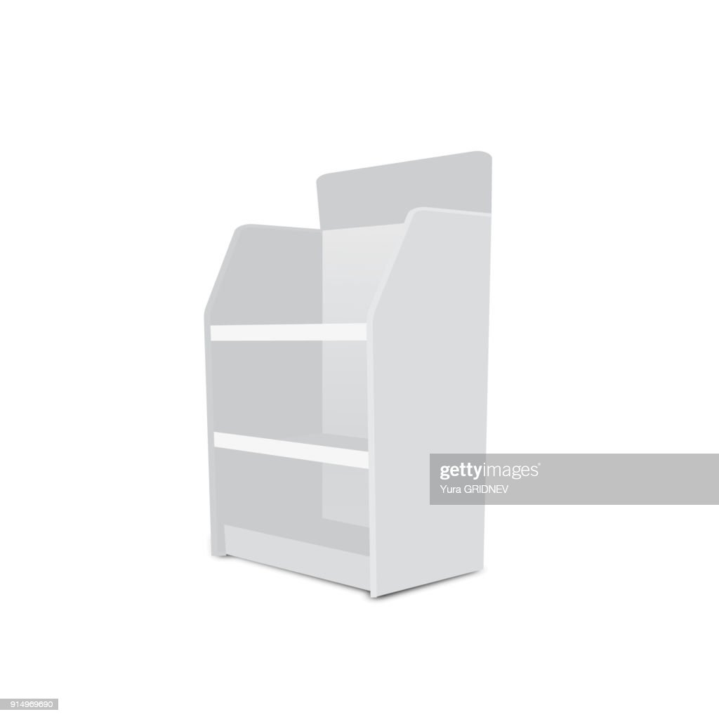 White Long Blank Empty Showcase Displays With Retail Shelves. 3D Products On White Background Isolated. Ready For Your Design Avy Scott