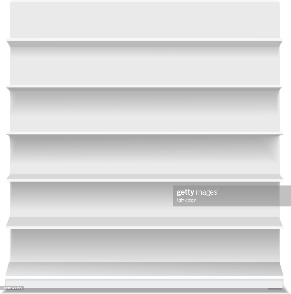 White long blank empty showcase displays with retail shelves