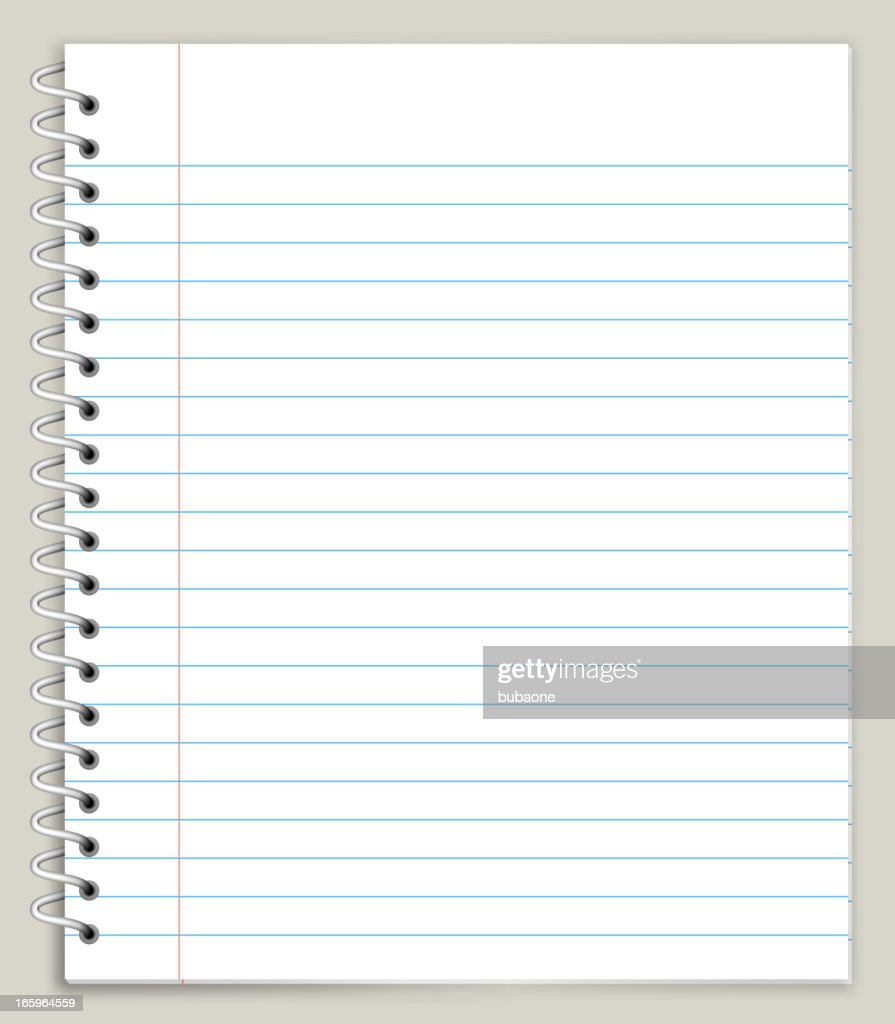 White Looseleaf Notebook Paper Royalty free vector graphic