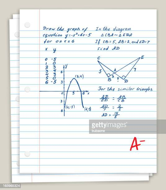 white looseleaf paper with math homework - report card stock illustrations