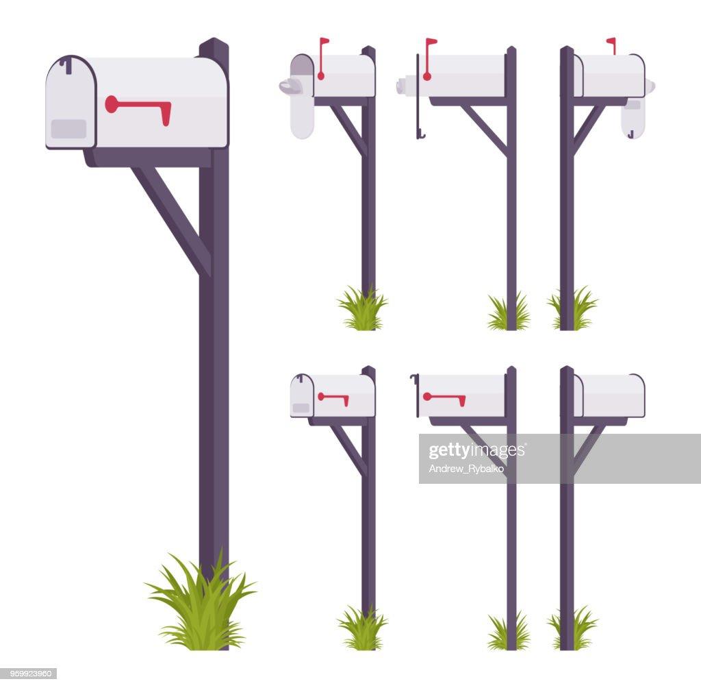 White mailbox set