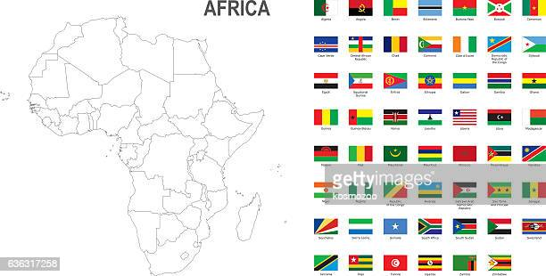 white map of africa with flag against white background - tunisia stock illustrations, clip art, cartoons, & icons