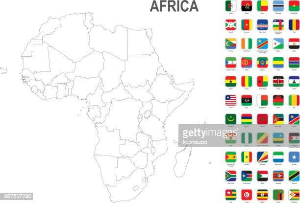 White map of Africa with flag against white background