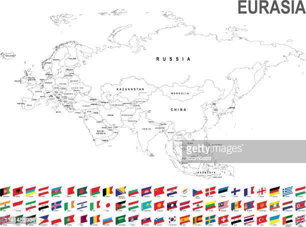 white map of eurasia with flag against white background - eurasia stock illustrations